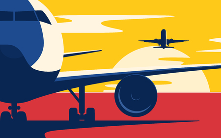Ilustración de Air traffic. Flat style vector illustration of the airliners at sunset. - Imagen libre de derechos