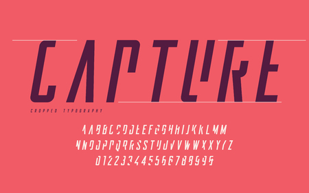 Illustration pour Cropped typography, set of uppercase letters and numbers, alphabet. - image libre de droit
