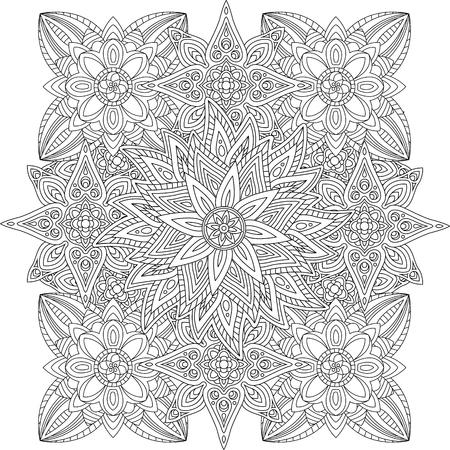 Foto de Coloring book page with beautiful linear floral pattern - Imagen libre de derechos