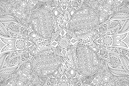 Illustration for Beautiful detailed adult coloring book page with abstract linear monochrome pattern - Royalty Free Image