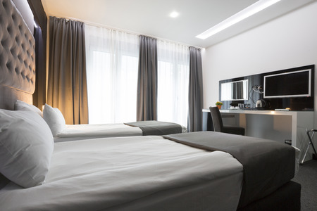 Photo for Modern elegant twin room interior - Royalty Free Image