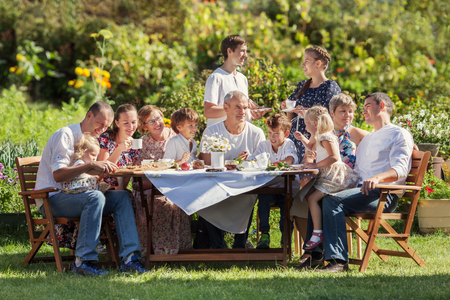 Photo for Most beautiful happy family in garden, portrait of three generations, outdoor - Royalty Free Image