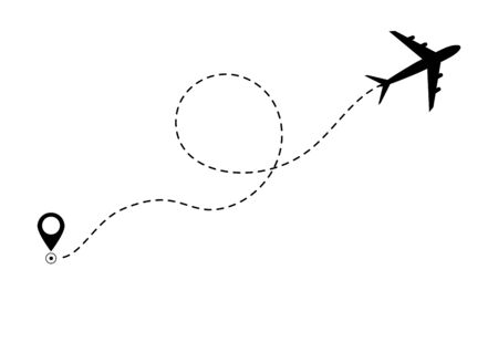 Ilustración de Airplane line path icon of air plane flight route. Airplane travel concept, symbol on isolated background. Flat black airplane flying and leave a black dashed trace line. vector eps10 - Imagen libre de derechos