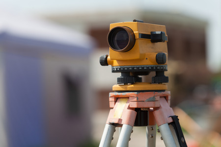 Photo for Surveyor equipment tacheometer or theodolite outdoors at construction site - Royalty Free Image