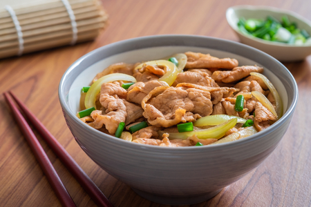 Photo for Fried pork with rice in bowl. Japanese food style, Donburi - Royalty Free Image