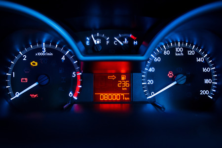 Foto de Modern car illuminated dashboard closeup - Imagen libre de derechos