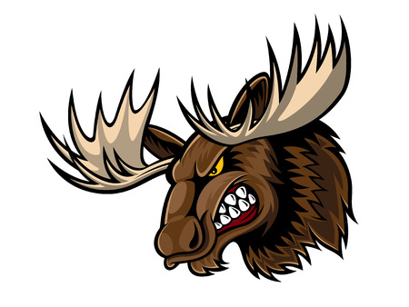 Illustrazione per cartoon moose who was very angry, staring and grinning - Immagini Royalty Free