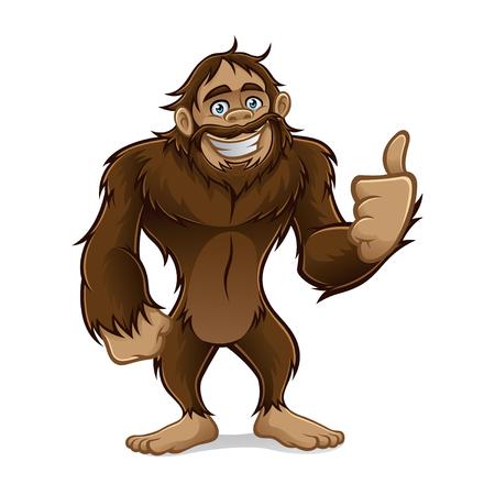 Illustration pour sasquatch standing friendly smile and a thumbs-up - image libre de droit