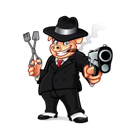 Ilustración de cartoon pig mobsters was put the gun while holding barbeque grills and smoking a cigar - Imagen libre de derechos