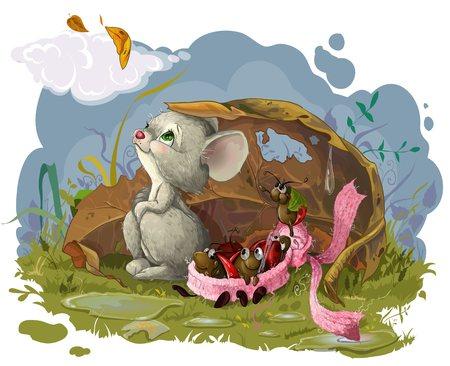 Foto de Vector resizible picture with Autumn, mouse and bugs in scarf - Imagen libre de derechos