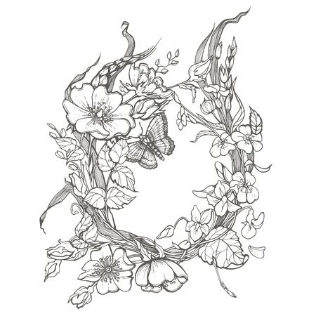 Illustration pour Wild dog rose flowers frame contour ink adult coloring page drawing vector clipart on white background. - image libre de droit