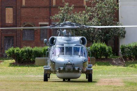 Foto de Parramatta, Australia - October 8, 2013: Royal Australian Navy (RAN) Sikorsky S-70B-2 Seahawk Helicopter N24-005. - Imagen libre de derechos