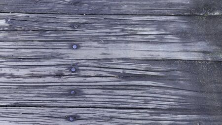 Photo pour A background of weathered planks.  Deep grained wood pattern.  Primarily black in color, row of nail heads vertically. - image libre de droit