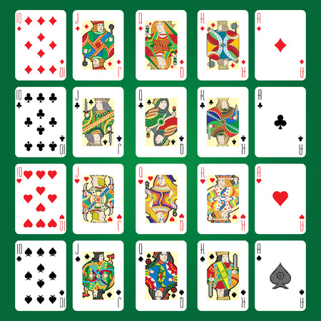 Illustration for Set of playing cards vector: Ten, Jack, Queen, King, Ace - Royalty Free Image