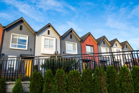 Photo for Colorful new modern luxury townhouses. - Royalty Free Image