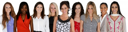 Foto de Women of all different races together on a white background - Imagen libre de derechos