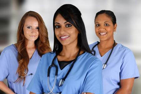 Foto de Group of nurses set in a hospital - Imagen libre de derechos