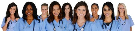 Foto de Group of nurses set on a white background - Imagen libre de derechos