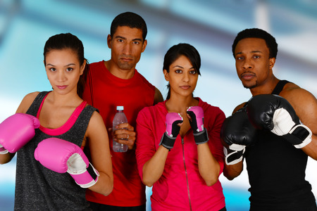 Group of people in a boxing class