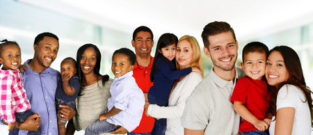 Foto de Group of different families together of all races - Imagen libre de derechos