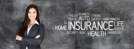 Photo pour Female insurance agent who is happy to be working - image libre de droit