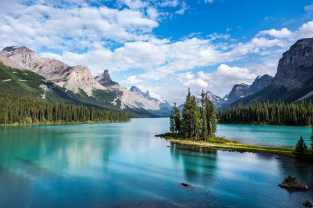 Photo for Spirit Island in Maligne Lake at Sunset, Jasper National Park, Alberta, Canada - Royalty Free Image