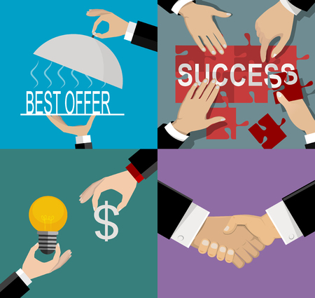 Illustration pour Teamwork banners set with business process and success elements isolated vector illustration - image libre de droit