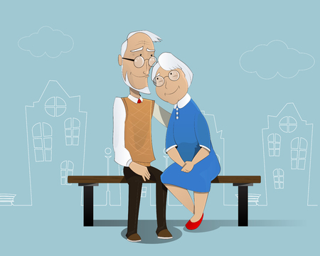Illustration for Happy cartoon elderly couple sitting on  bench. In the background is shown schematically city. Pensioners, senior  social insurance, grandfather grandmother. Vector - Royalty Free Image