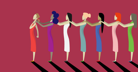 Illustration pour Stop violence against women. Conceptual image of brave women who are fighting for their rights. Women in the picture are holding each other's shoulders in support. flat vector - image libre de droit