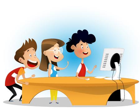 Illustration pour Group of elementary school students - image libre de droit