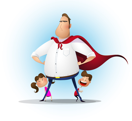 Illustration pour Father, daughter and son playing superhero at the day time. - image libre de droit