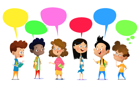 Ilustración de Happy school kids are talking about something. Cartoon vector illustration - Imagen libre de derechos