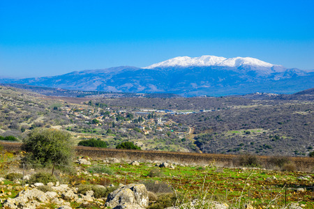 Photo for View of the Hula Valley and Mount Hermon, Northern Israel - Royalty Free Image