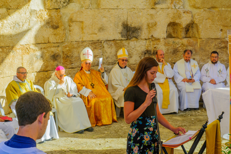 Photo for EMMAUS, ISRAEL - APRIL 2, 2018: Easter Monday Solemn Mass at the basilica of Emmaus-Nicopolis, with the Latin Patriarch of Jerusalem and other priests, Israel. Commemorating Jesus resurrection - Royalty Free Image