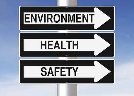 Photo pour Conceptual one way street signs indicating Environment, Health and Safety - image libre de droit