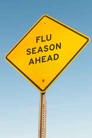 Photo for Yellow flu season ahead highway road sign - Royalty Free Image