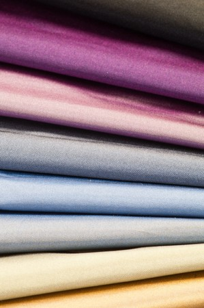 Set of various multicolored silk or satin textiles