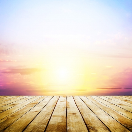 Foto de blue sky with clouds and wood planks floor background - Imagen libre de derechos