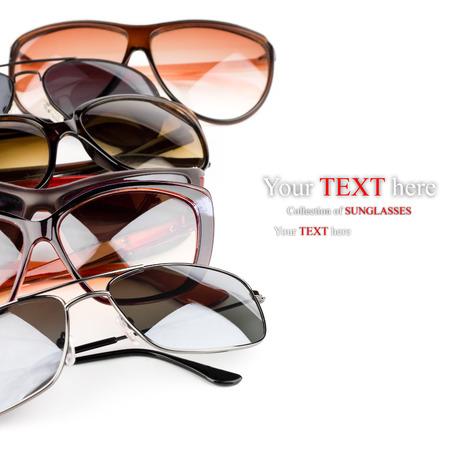 Photo pour Collection of sunglasses on white  - image libre de droit