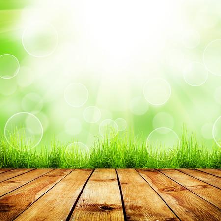 Foto de Fresh spring green grass with green bokeh and sunlight and wood floor. Natural background - Imagen libre de derechos