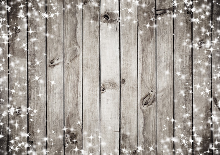 Photo for the brown wood texture with white snow and stars. Christmas background - Royalty Free Image