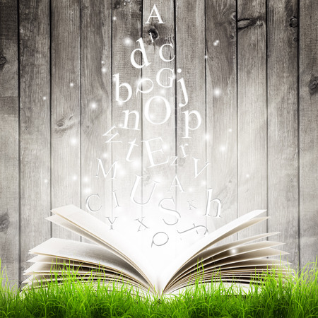 Photo pour Open book with flying letters in green grass over wooden background. Magic book - image libre de droit