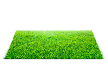 Photo pour Square of green grass field over white background - image libre de droit