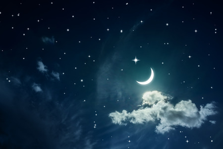 Photo pour Night sky with stars and moon - image libre de droit