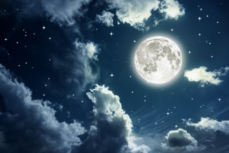 Foto de Night sky with stars and full moon background. Elements of this image furnished   - Imagen libre de derechos