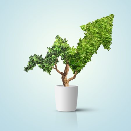 Foto de Tree grows up in arrow shape over blue background. Concept business image - Imagen libre de derechos
