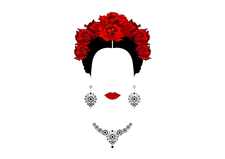 Illustration pour Portrait of Mexican or Spanish woman with crown of red flowers, earrings and necklace, vector isolated - image libre de droit