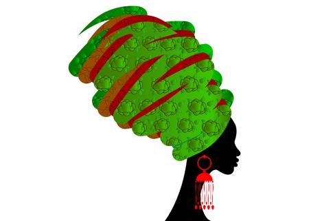 Ilustración de portrait beautiful African woman in traditional turban, Kente head wrap African, Traditional dashiki printing, black women vector silhouette isolated , hairstyle concept - Imagen libre de derechos