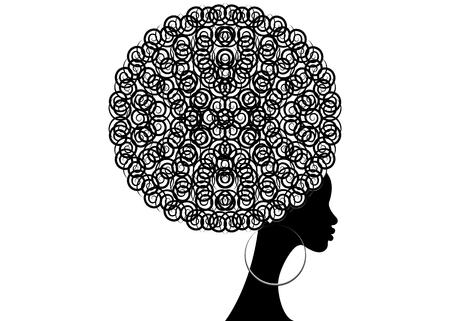Ilustración de Portrait  of African women, dark skin, isolated on white background, hair style concept - Imagen libre de derechos