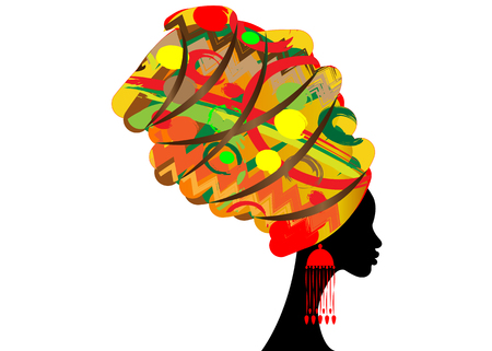 Ilustración de Portrait beautiful African woman in traditional turban, kente head wrap African, Traditional dashiki printing, black women silhouette isolated with traditional earrings, hairstyle concept - Imagen libre de derechos